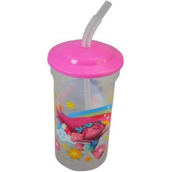Party Favors Licensed Trolls 16 oz. Sports Tumbler with lid and straw 55g