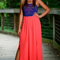 Straight Up Maxi, Neon Coral-Blue