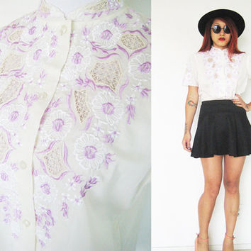 Vintage cream beige lace eyelet embroidered puff sleeves chinese collar purple violet white top button down shirt hippie bohemian floral