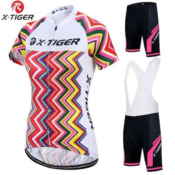 X-Tiger Women Summer Cycling Set 100% Polyester MTB Bike Shirt Breathable Bicycle Clothes Cycling Clothing Cycling Jersey Set