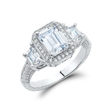 Sterling silver bonded with platinum emerald cut 3 stone pave ring and simulated diamonds by swarovski.  ZR-0232