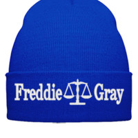 freddie gray justice embroidery hat - Beanie Cuffed Knit Cap