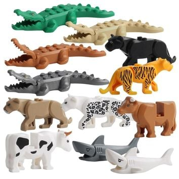 Duplos Animal Model Figures Building Block Sets Crocodile leopard shark kids educational toys for children Gift Brinquedos