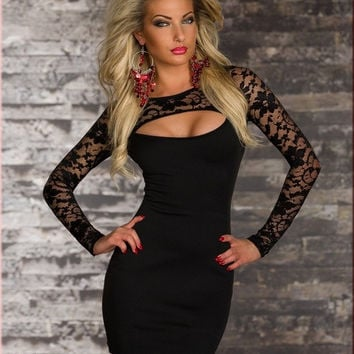 New Fashion Sexy Women Lace Black Club Dress = 1958330116