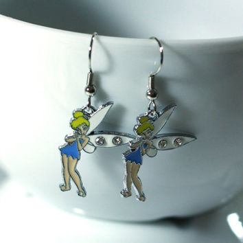 Blue Tinkerbelle Charm Earrings with Rhinestones - cartoon fairy princess earrings - peter pan tinkerbell tinker bell