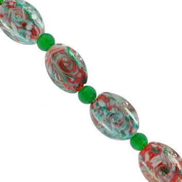 Oval Lampwork Glass Beads Red,Green,White - 7