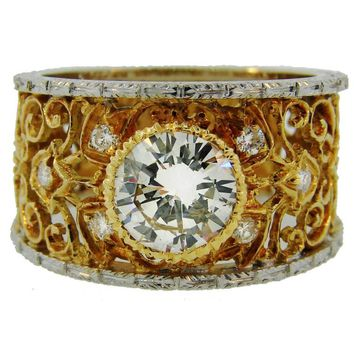 1960s Mario Buccellati Diamond Gold Lacy Band Ring