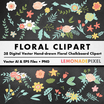 Chalkboard Floral Clipart - wedding clipart, flowers foliage greenery, chalkboard clipart, rustic wedding vector art, diy decorations