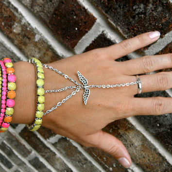 Neon Slave Bracelet Set with Angel Wings &  Hand Painted Rhinestones