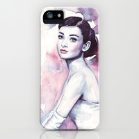 Audrey Hepburn Pretty Purple Watercolor iPhone & iPod Case by Olechka