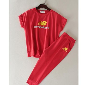 New balance Fashion running sports shorts sleeve show thin T shirt suit Red