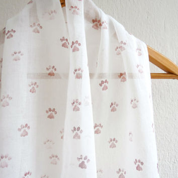 Hand Stamped Paws Scarf,Organic Cotton Scarf,Soft Thin Scarves,Accessory,Animal Paw Scarf