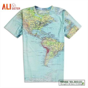 New Creative The World Map T Shirt 3d Printed T-shirt Harajuku Outfit Tees Tops Summer Style Funny Graphic T-Shirt Drop Shipping
