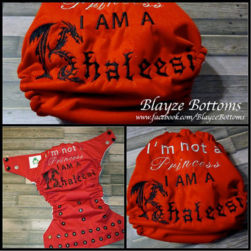 Game of Thrones inspired Khaleesi OS Pocket Diaper or Diaper Cover
