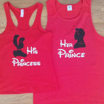 Free/Fast Shipping for US Cinderella and Prince Charming  Tank Tops