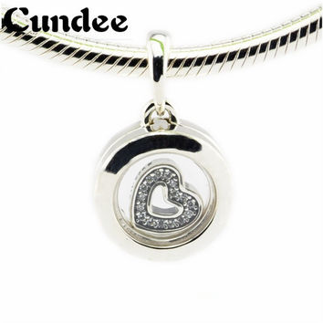 Floating Locket Beads Fits Pandora Charms Bracelets Crystal Glass 925 Sterling Silver Charm