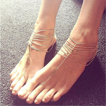 Multi Tassel Toe Ring Bracelet Chain Link Foot Jewelry Anklet = 5658254273