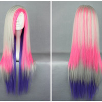 Fashion Queen 80cm Long Straight Colorful High Quality Synthetic Lolita Wig,Colorful Candy Colored synthetic Hair Extension Hair piece 1pcs WIG-286B