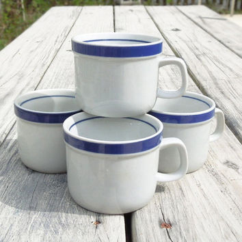 Set of 4 stoneware cups or mugs with blue trim - Monterrey Stoneware - Made in Japan