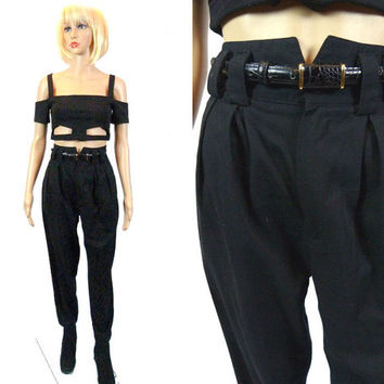 Vintage Black Pants/ 80's High Waist Pants/ Vtg Black Dress Slacks/ Tapered Trousers Pant / Boho Pant/ Minimalist Pants/ 25 Waist/ Pleated