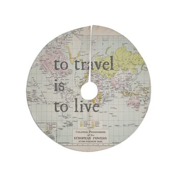 """Catherine Holcombe """"To Travel Is To Live"""" Color Map Tree Skirt"""