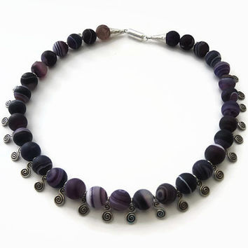 Purple iced agate necklace, handmade beadwork semi precious gemstone choker, made of iced agate and Thai silver,  with a magnetic clasp