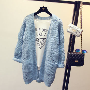 2017 New Fashion Autumn Spring  Women Sweater Cardigans Casual Warm Long Design Female Knitted Coat Cardigan Sweater Lady