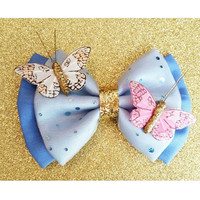 Cinderella 2015 Butterfly Dress Live Action Movie Inspired Glitter Fabric Hair Bow. Perfect for Cosplay & Dress Up. For Adults and Kids.