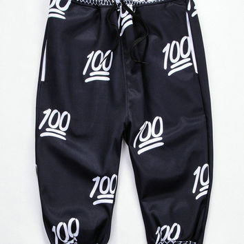 Black 100 Emoji 3D Print Cropped Sweatpants
