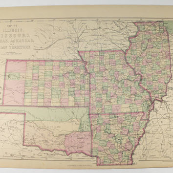 1873 Antique Indian Territory Map, Kansas Missouri Map, Arkansas Illinois Map, Rare Historical Map, Cartography Gift for Guy, Man Cave Decor