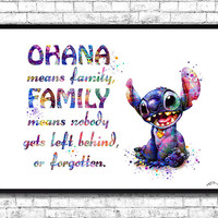 Stitch Quote Watercolor Art Print OHANA FAMILY Poster Lilo and Stitch Children's Nursery Art Print Wall Poster Wall Decor Wall Hanging