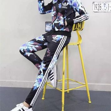 """Adidas"" Women Casual Lotus Print Zip Cardigan Coat Long Sleeve Trousers Set Two-Piece Sportswear"