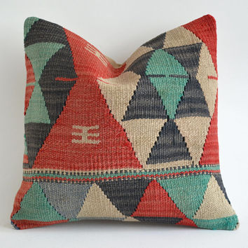Sukan sukanart Sale Organic Shine Society Modern Bohemian Throw Pillow. Handwoven Wool Vintage Tribal Turkish Kilim Pillow Cover 16x16