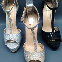 Chase & Chloe Valerie1 Womens WEDDING PAGEANT Glitter Rhinestone Ankle strap Peep Toe Platform Pumps Heels Shoes