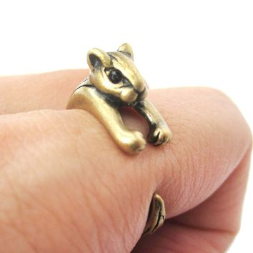 Squirrel Chipmunk Shaped Animal Wrap Around Ring in Brass | US Sizes 3 to 8.5