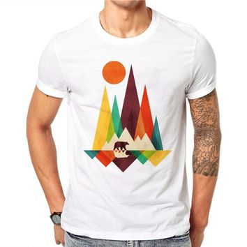 100% Cotton Simple Mountain Bear Design Men Animal Printed Male Cool Tops Short Sleeve Casual Tee