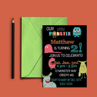 Monster Party Invitation - Little Monster Invitation - Monster Party - Boys Birthday Party - First Birthday Invitation - PRINTABLE