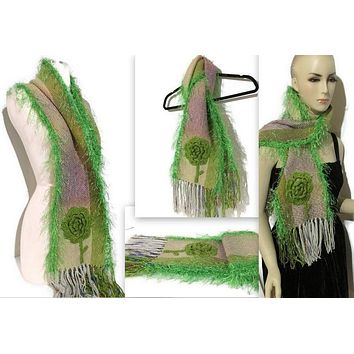FIBER ART  WOVEN SCARF: THE GREEN