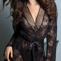 Sexy Salty Floral Lace and Lattice Trim Robe