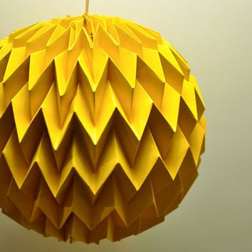 Hanging decorative folded paper bubble ball YELLOW by tyART