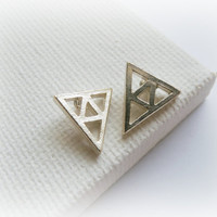 Legend of Zelda Triforce Earrings - Triangle sterling silver geometric studs
