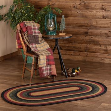 Lodge Rustic Black Red Green WYATT BRAIDED JUTE RUG Oval Area Rugs