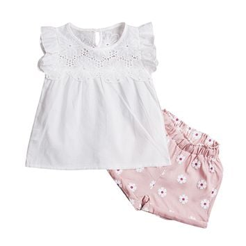 Kids Baby Girls Outfits Lace Tops+ Floral Shorts Pants Clothes Sets
