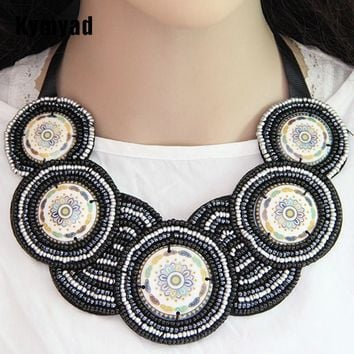 Women's Large Bohemian Beaded Collar Necklace with Satin Tie.    Available in Black and Red.    ***FREE SHIPPING***