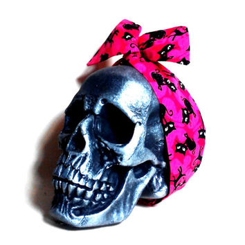 Black Cats, Hot Pink Headband, Glitter Headband, Dolly Bow, Pink Headband, Wire Headband, Retro Headband, Pin Up, Rockabilly, Girly Headband
