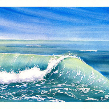 "Original Watercolor Seascape, Ocean Painting, Rolling Waves Painting, Breaking Wave Fine Art, Beach Home Decor, Original Watercolor 8""X10"""