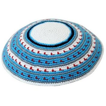 C D.M.C. Kippah 15 Cm- White With Blue And Gray