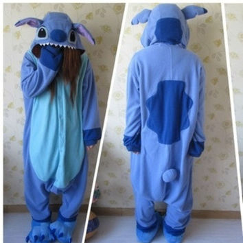 Animal Blue Lilo Stitch Pajamas Adult Unisex Onesuit Polyester Polar Fleece One Piece Sleepwear