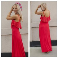 Red Maxi Dress with Lace Crochet Overlay Scoop Top