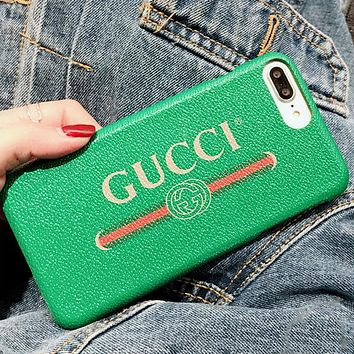 GUCCI MILTCOLOR CASE New popular logo iphone 7/8plus mobile phone case gucci simple letter iphone8 leather case X.Green